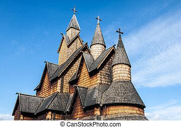 portée, église, heddal, norvège