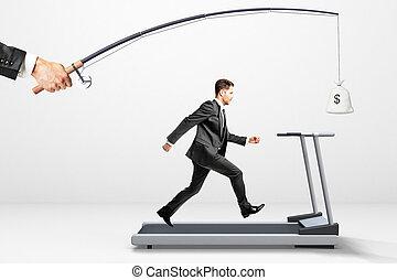 portée, a, but, concept, à, course homme affaires, sur, a, tapis roulant, pour, argent