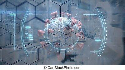 portée, balayage, contre, cellules, fond, covid-19
