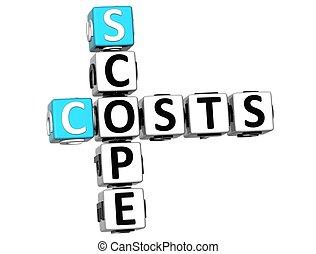 portée, coûts, 3d, mots croisés