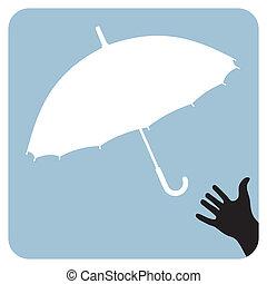 portée, essayer, parapluie, main