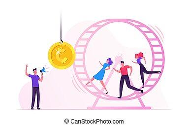 portée, roue, hamster, monnaie, essayer, rat, hommes affaires, doré, femmes affaires, race., courant, accentué