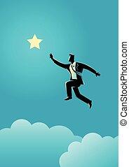 portée, sauts, dehors, étoile, homme affaires