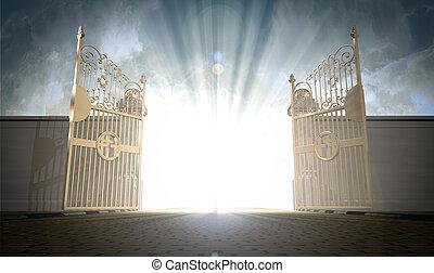 portões, abertura, céus