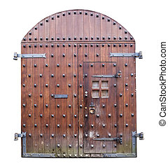 portões, antigas, medieval, madeira, isolado, fundo, frente,...