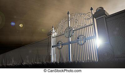 portões, céus, abertos