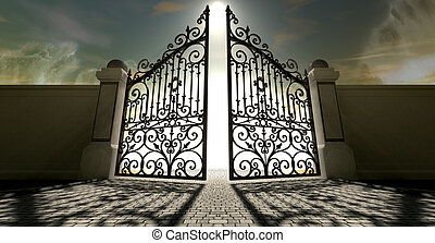 portões, céus, abertos,  Ornate