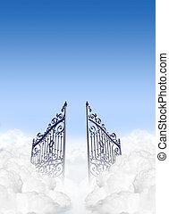 portões, céus, nuvens