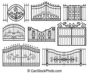 portões, ferro, ícones