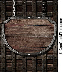 portões, medieval, madeira, signboard, penduradas, ...