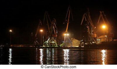 port, ładunek, bok, noc