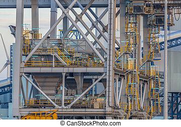 port, żuraw, zbudowanie, szczegół