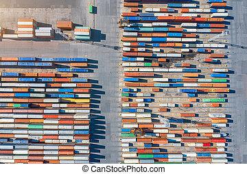 port., 航空写真, 出荷ふ頭, 容器, 光景