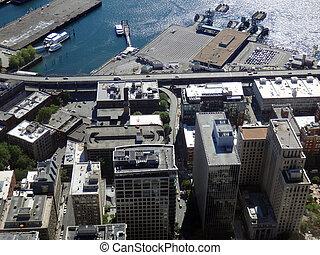 port, aérien, bâtiments, terminal, en ville, i-5, bateaux, ferry-boat, seattle, autoroute, vue