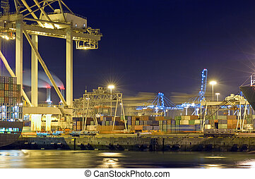 Port activity - Activity at night in Rotterdam Harbor