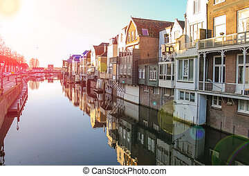Port and canal embankment in the Dutch town of Gorinchem