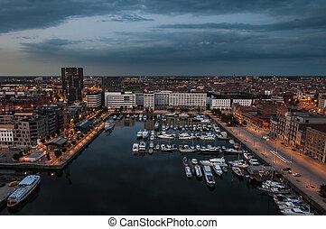 port, anvers, aérien, toit, vue