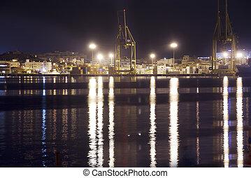 port at night in Cartagena, Spain