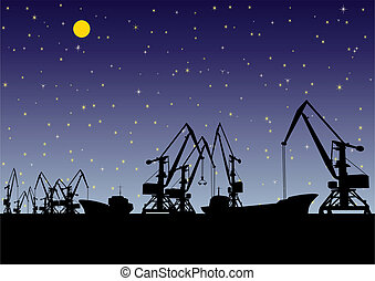 Port at night - Night landscape. In the port of loading and...