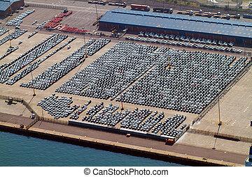 port, automobiles, garé