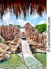 Amusement park in Spain near Salou- Port Aventura. Salou, Spain