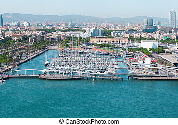 port, barcelona., bateaux