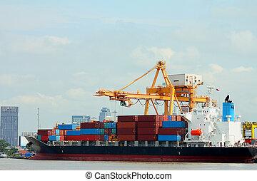 port., bateau, chargement, grue récipient
