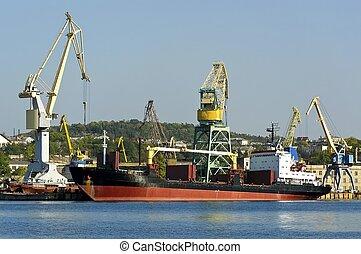 port., bateau, chargement