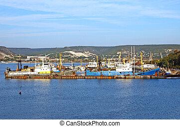 port, bateau, peche