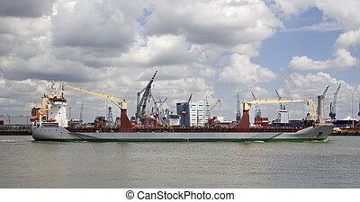 port, bateau, rotterdam