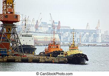port, bateau, tug-boat, brouillard