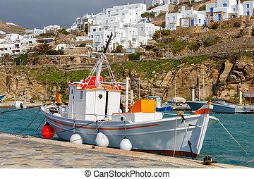 port., bateau, vieux, peche, mykonos.