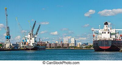 port, bateaux, amarrage, récipient, rotterdam