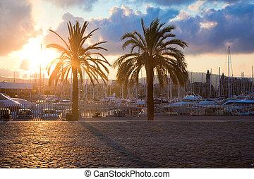 port, bateaux, barcelone
