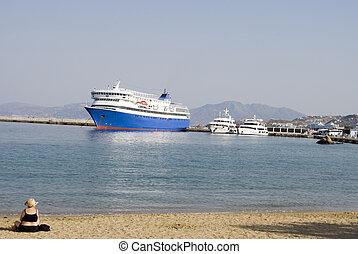 port, bateaux, femme, plage