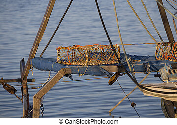 port, bateaux, -, filets pêche