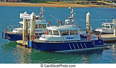 port, bateaux, police