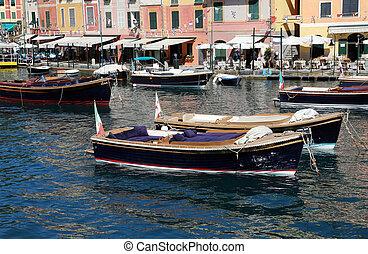 port, bateaux, portofino