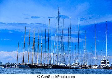 port, beaucoup, mâts