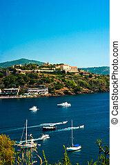 port, bleu, italie, île, elba