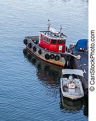port, boston, petits bateaux, calme