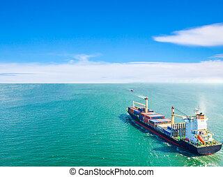 port., cargaison, aérien, logistique, business, bateaux, expédition, transporté, international, milieu, course, récipient, exportation, mer, importation, transport, bateau, vue