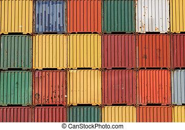 port., cargaison, empilé, coloré, haut, bateau, récipients
