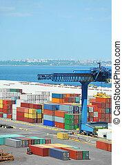 port, cargaison, grue, et, récipient