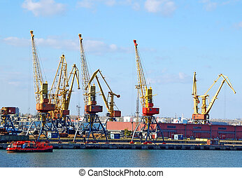 port, cargaison, grue