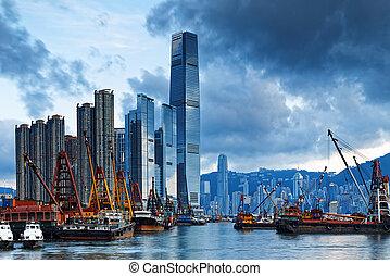 port, cargaison, hong, bateau, kong