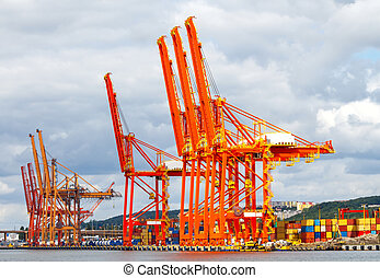 port., cargaison, marin, gdynia.