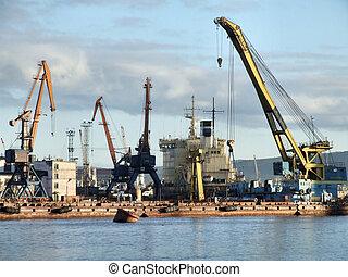 port, cargaison, occupé, infrastructure