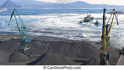 port, charbon, chargement, terminal