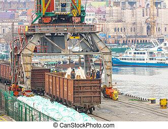 port., chargé, ouvriers, sacs